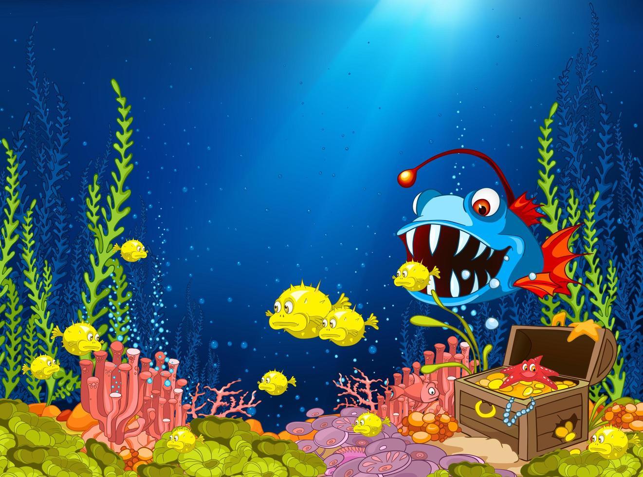 Cartoon Ocean Underwater Coral Reef vettore