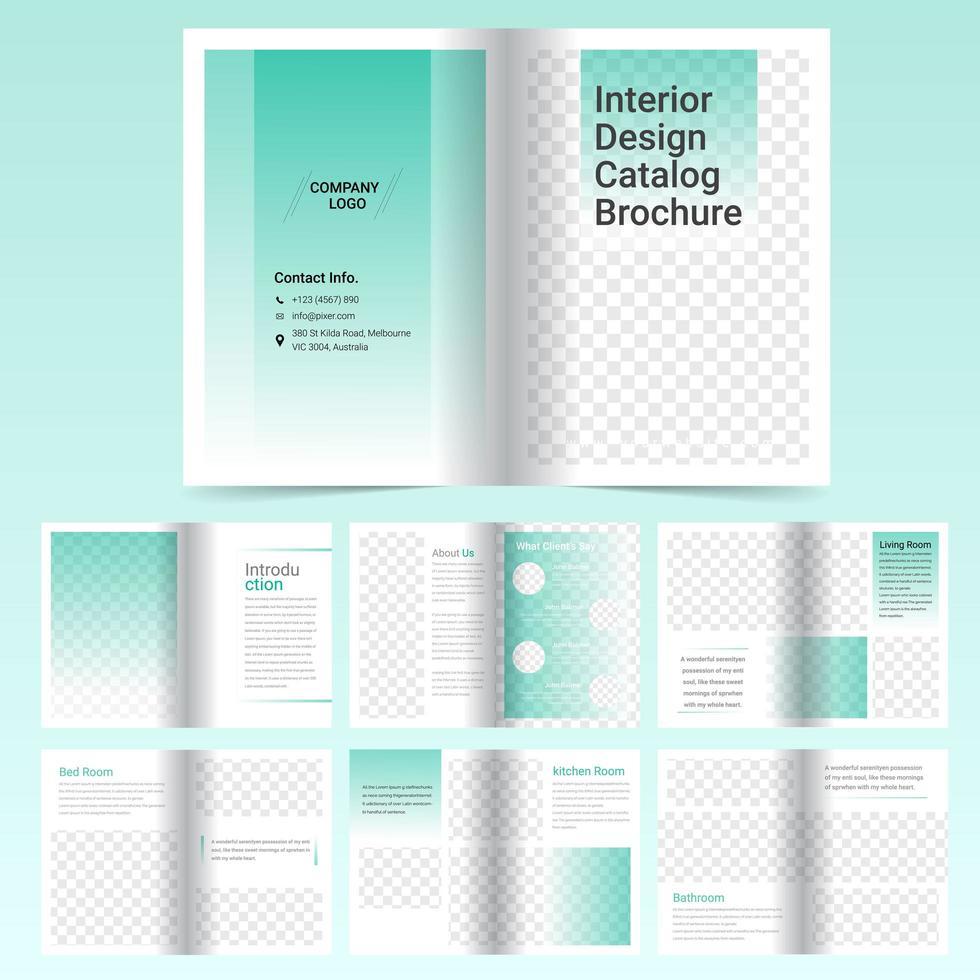 Modello di brochure catalogo verde di 16 pagine vettore