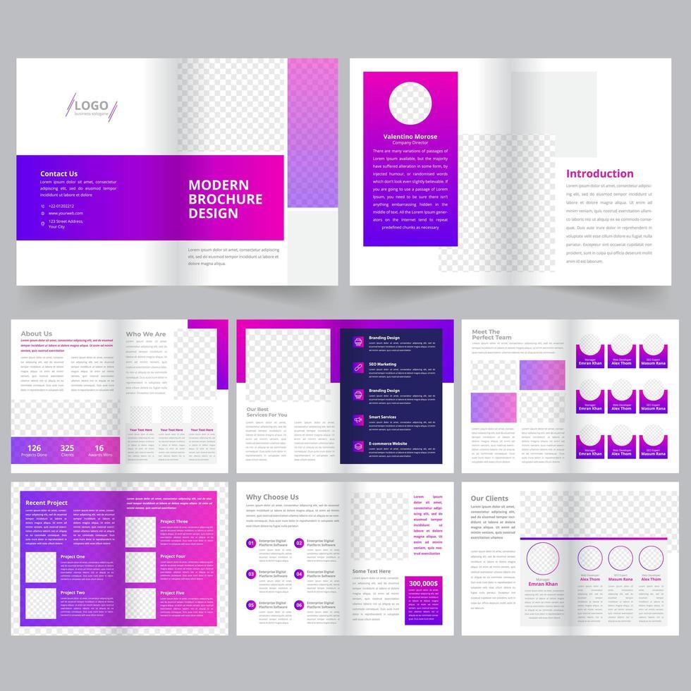 Modello di brochure aziendale pulito geometrico vettore