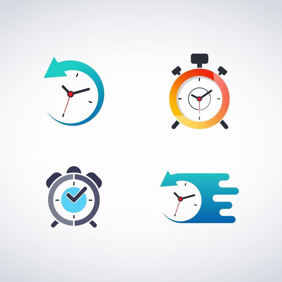 Set logo orologio vettore