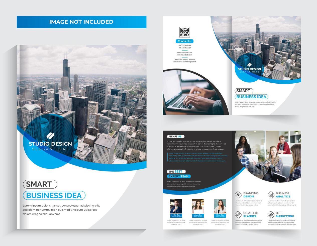 Progettazione di brochure aziendale bi-fold blu vettore