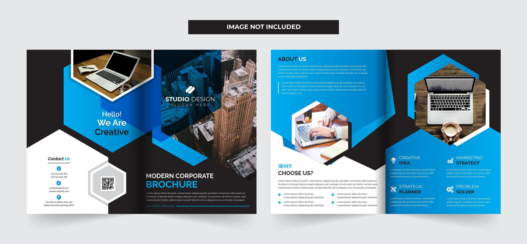 Progettazione di brochure aziendale bifold template vettore