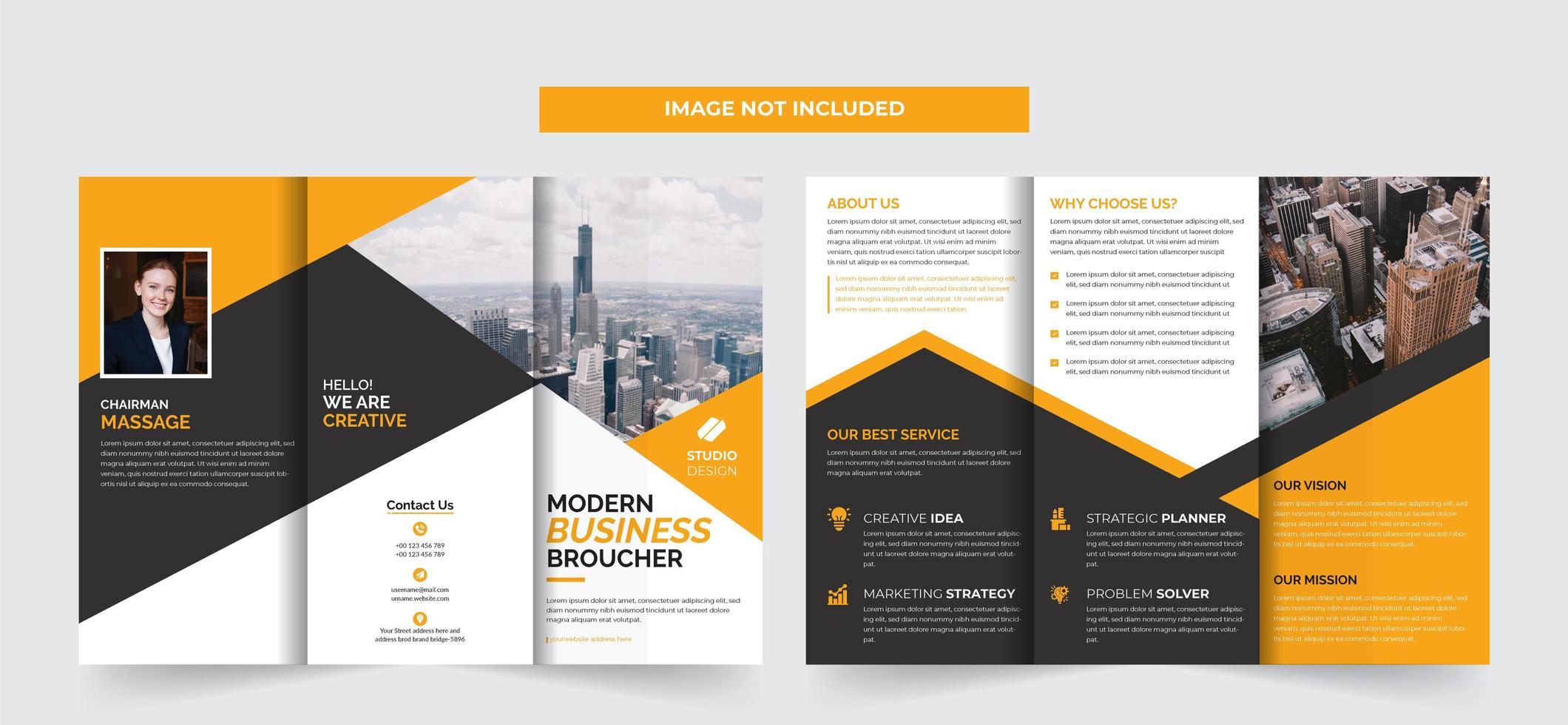Progettazione del modello di brochure a tre ante aziendale vettore