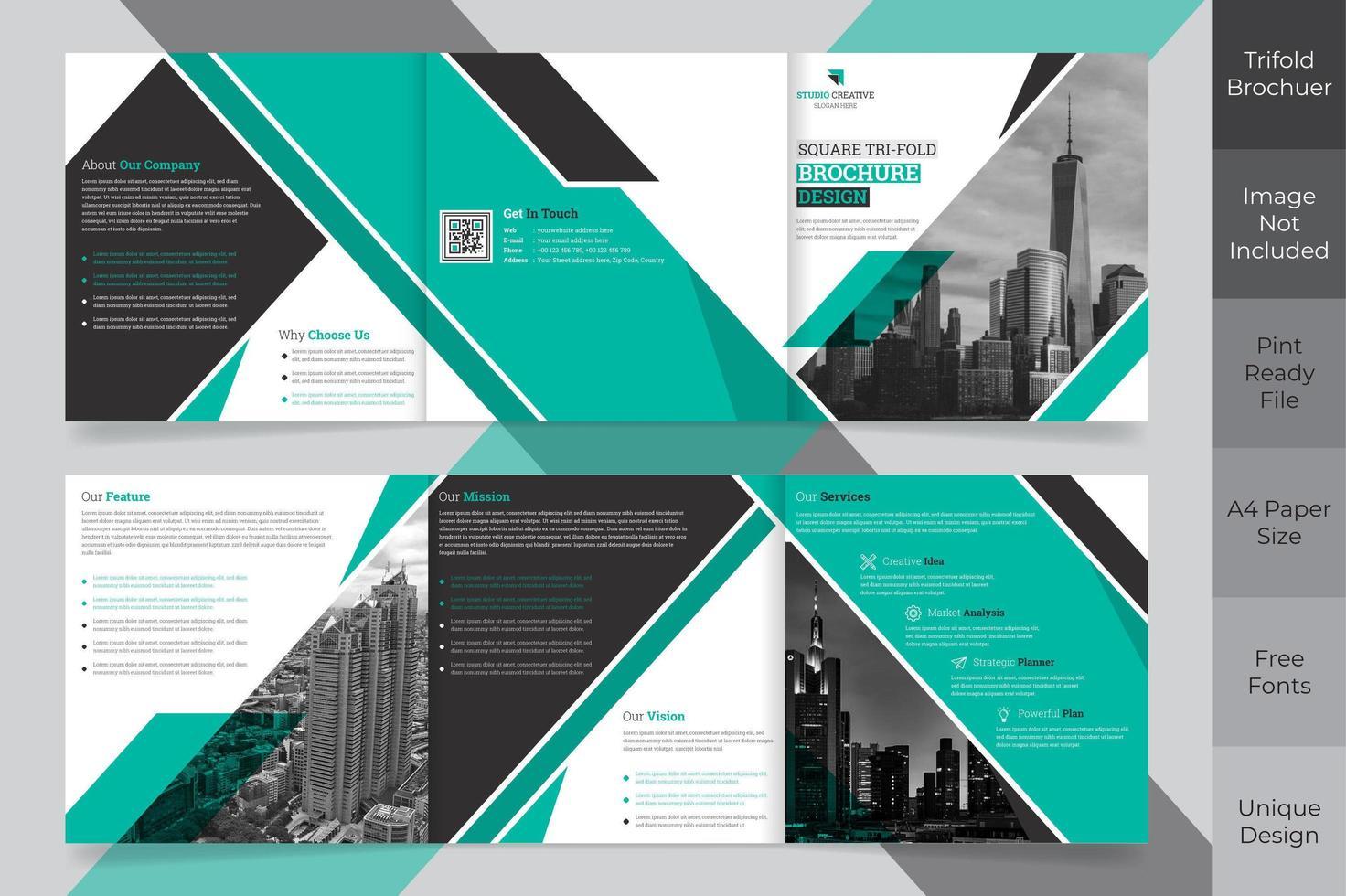 Progettazione di brochure ripiegabili in formato quadrato aziendale vettore
