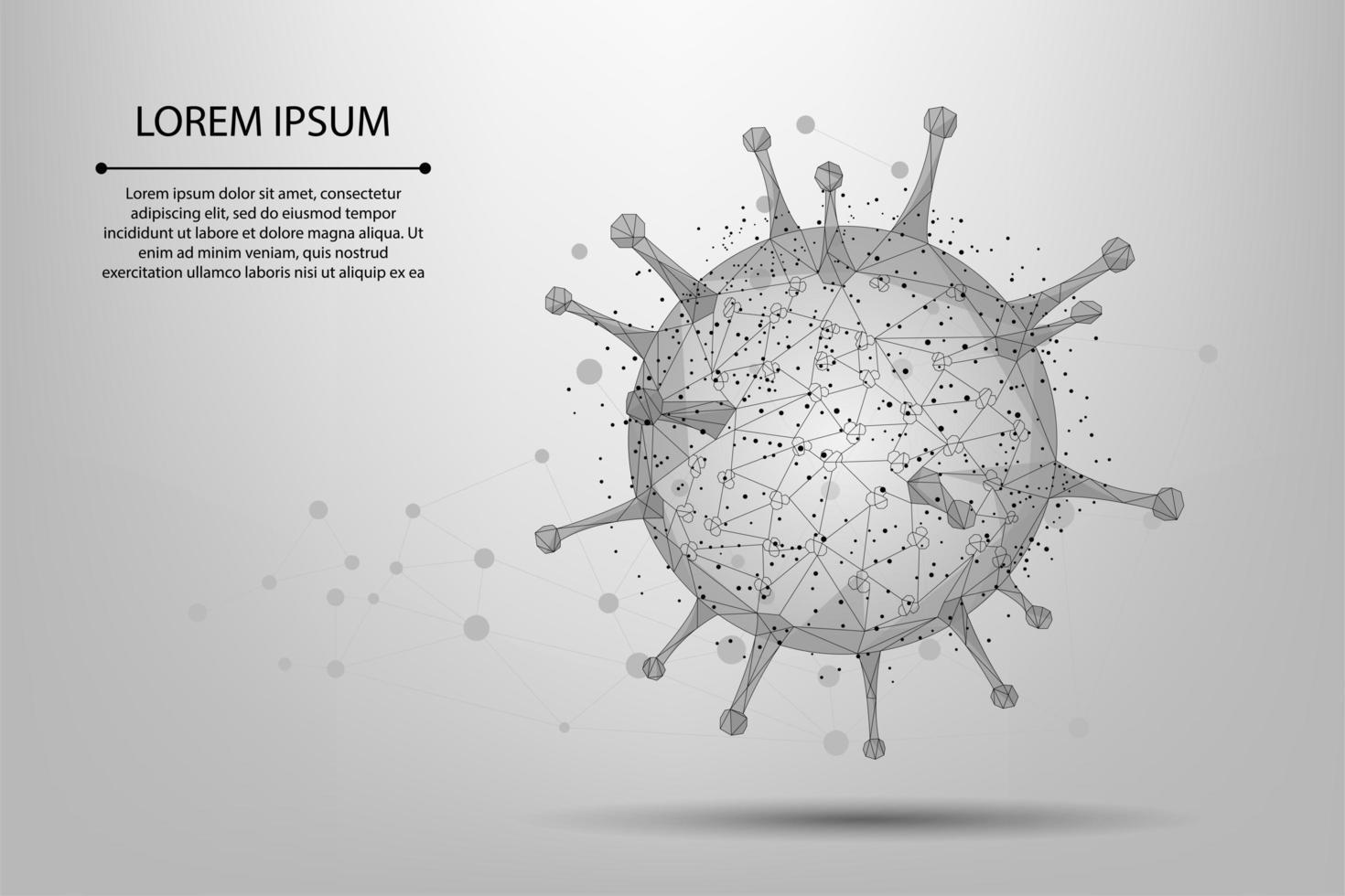 Cella del virus punto e linea Poly bassa vettore
