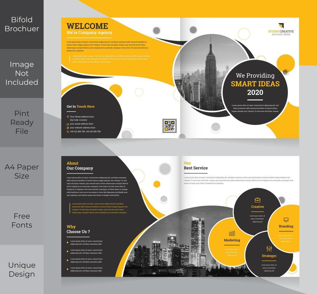 Design brochure aziendale pieghevole quadrato vettore