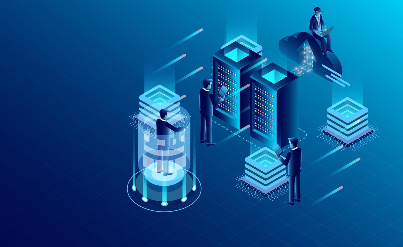 Concetto di tecnologia di archiviazione della nuvola della stanza del server di centro dati vettore