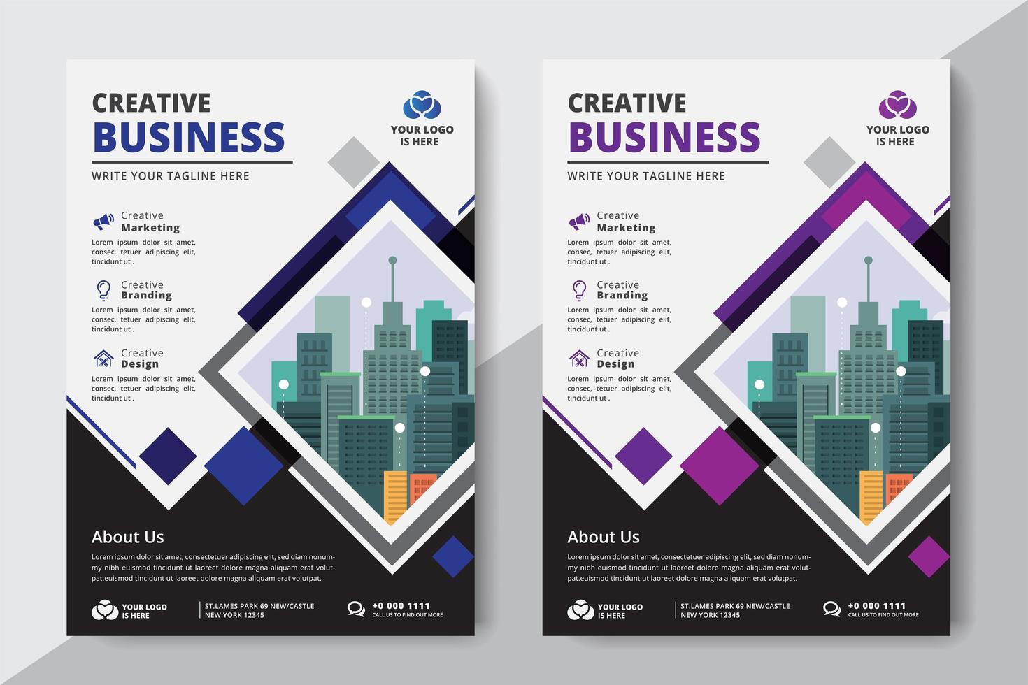 Flyer Diamond Business A4 Formato 2 Volantini Colore viola e blu vettore