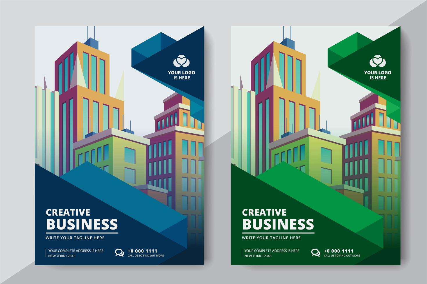 Business Flyer A4 Size 2 Flyers Colore verde e blu vettore