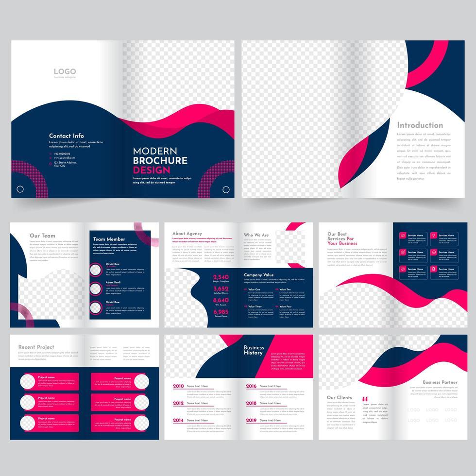 Insieme moderno blu e rosa del modello dell'opuscolo di affari vettore
