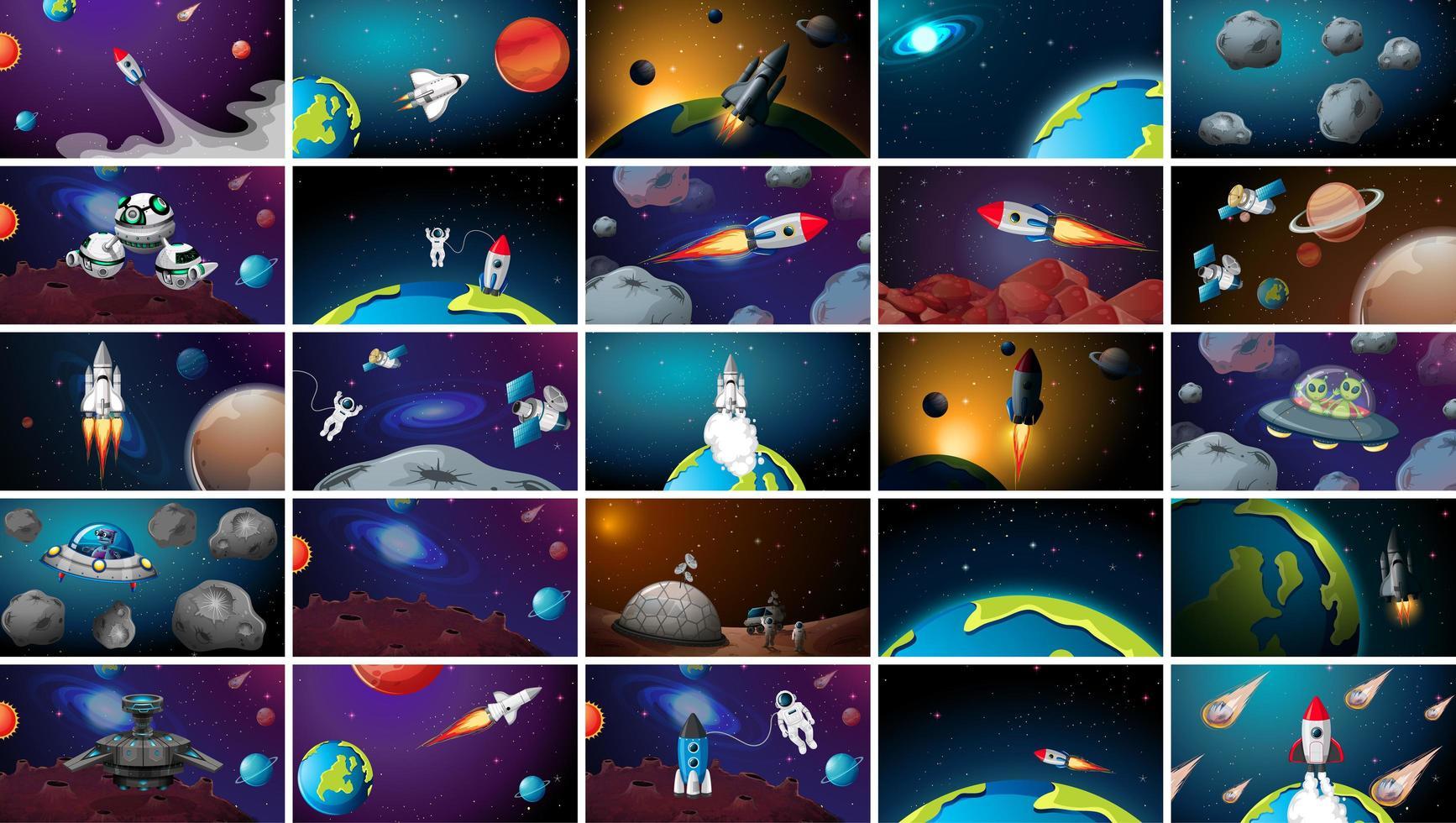 Enorme set di scene spaziali vettore
