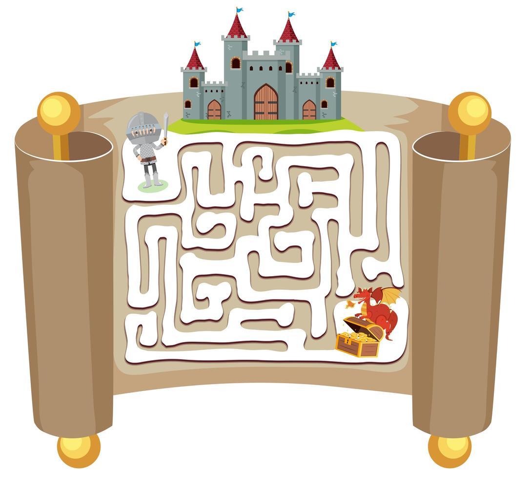 Gioco di puzzle labirinto Knight vettore