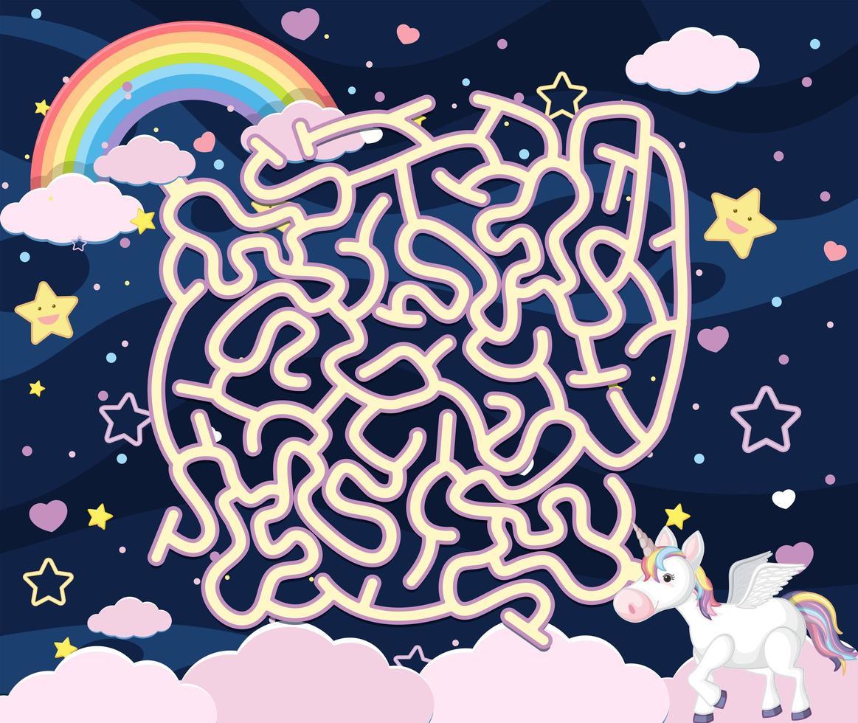 un gioco puzzle labirinto unicorno vettore