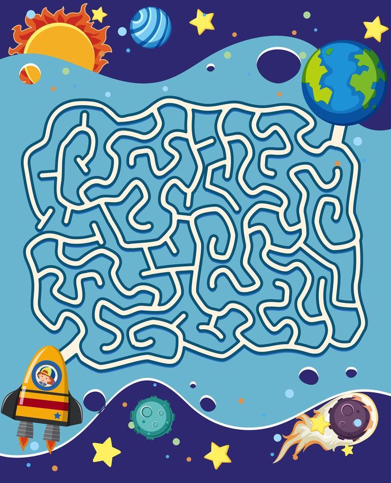 Un gioco di puzzle del labirinto spaziale vettore