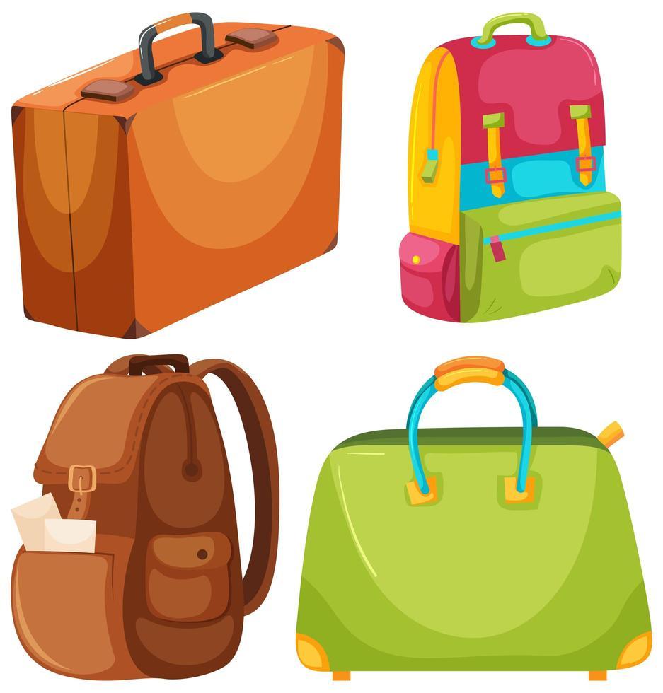 Un set di borsa da viaggio vettore