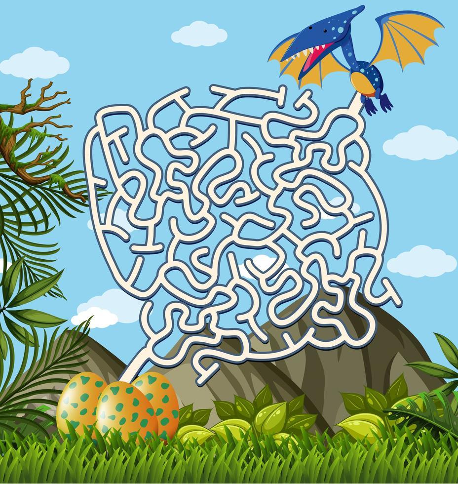 Pterosauri Alla ricerca di un gioco di puzzle labirinto di uova vettore