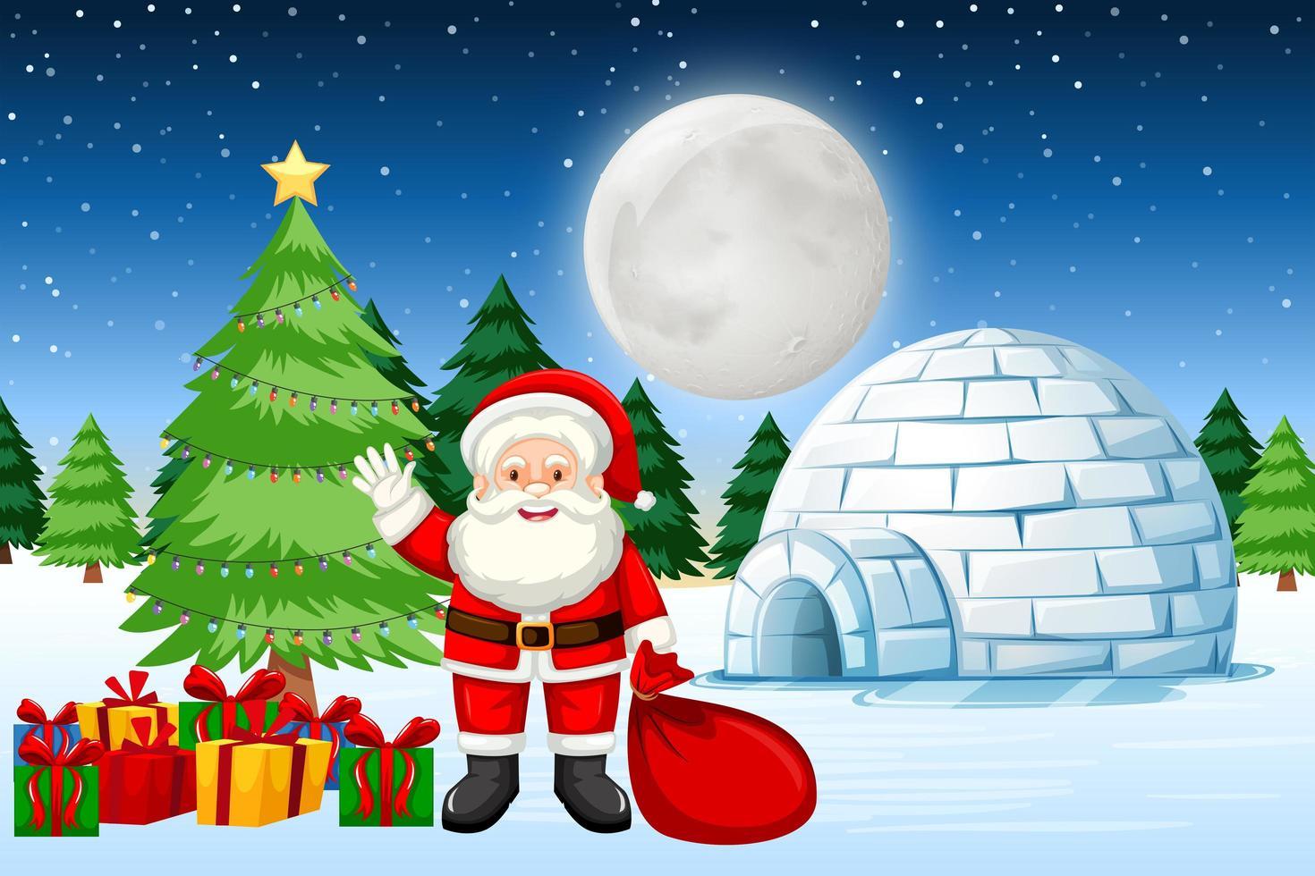 Santa con regali nella neve vettore