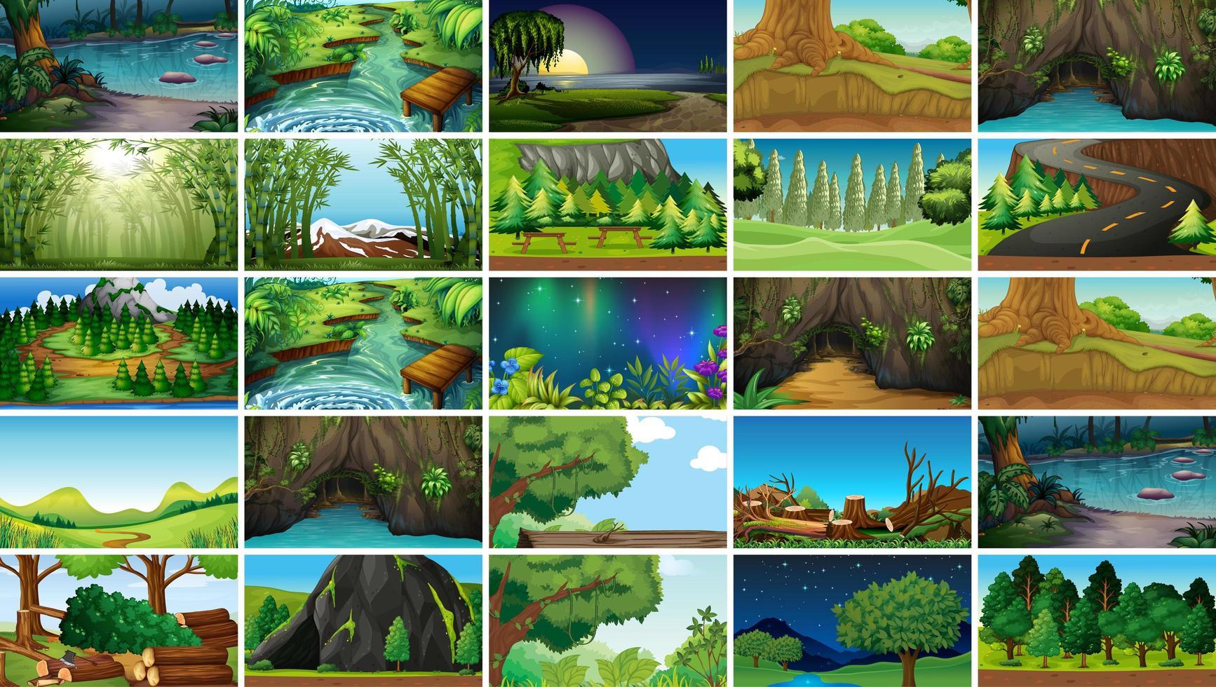 Set di scene di paesaggio sereno vettore