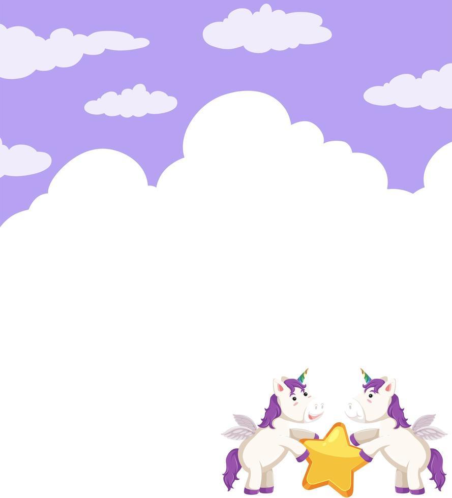 Unicorno con stelle e nuvole di sfondo vettore