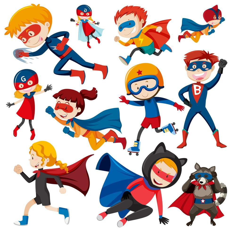 Set di bambini del supereroe vettore