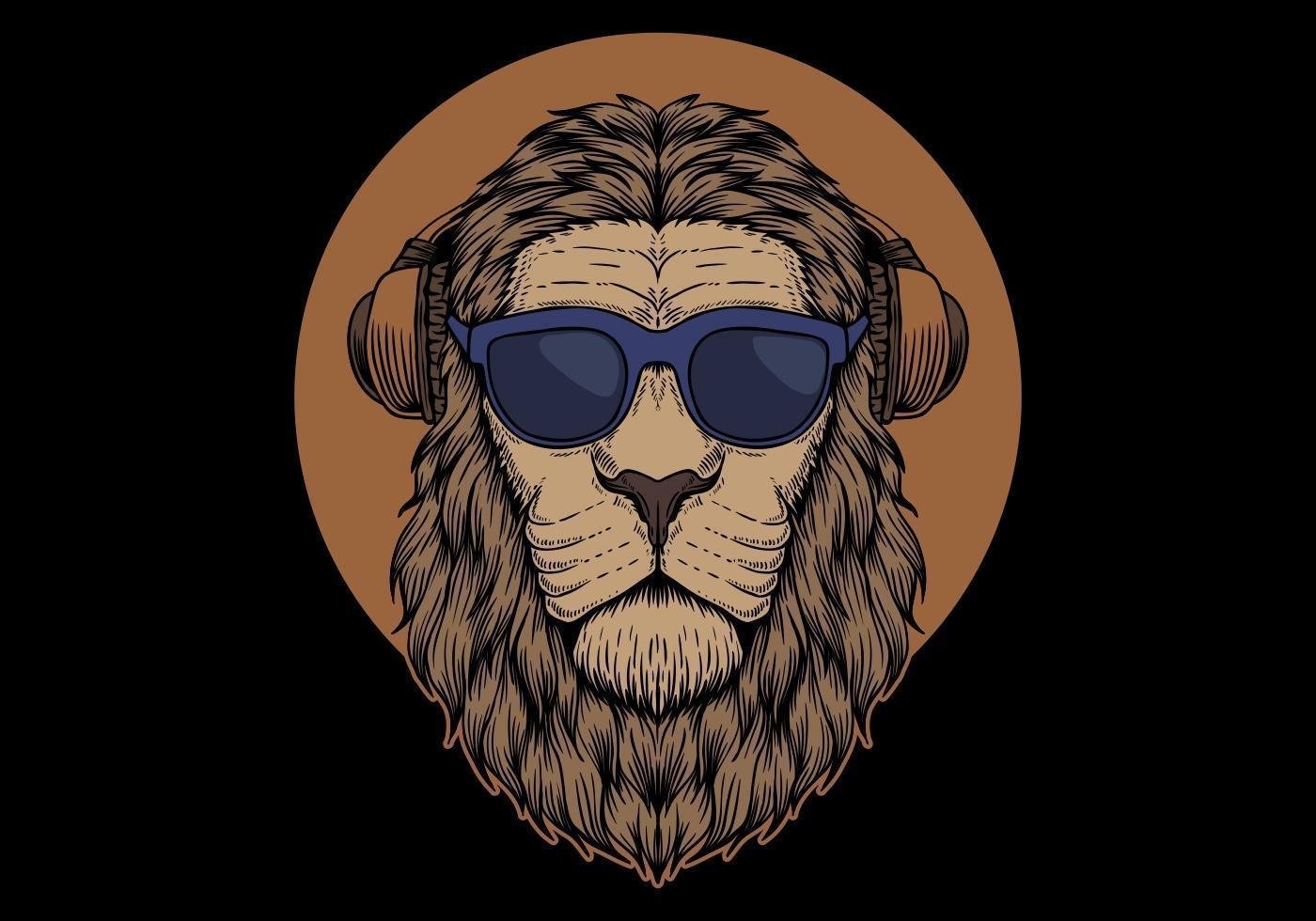 Testa di leone con occhiali da sole vettore