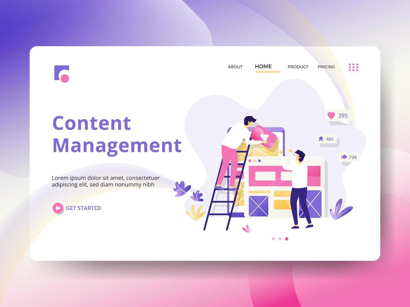 Pagina di destinazione della gestione dei contenuti vettore