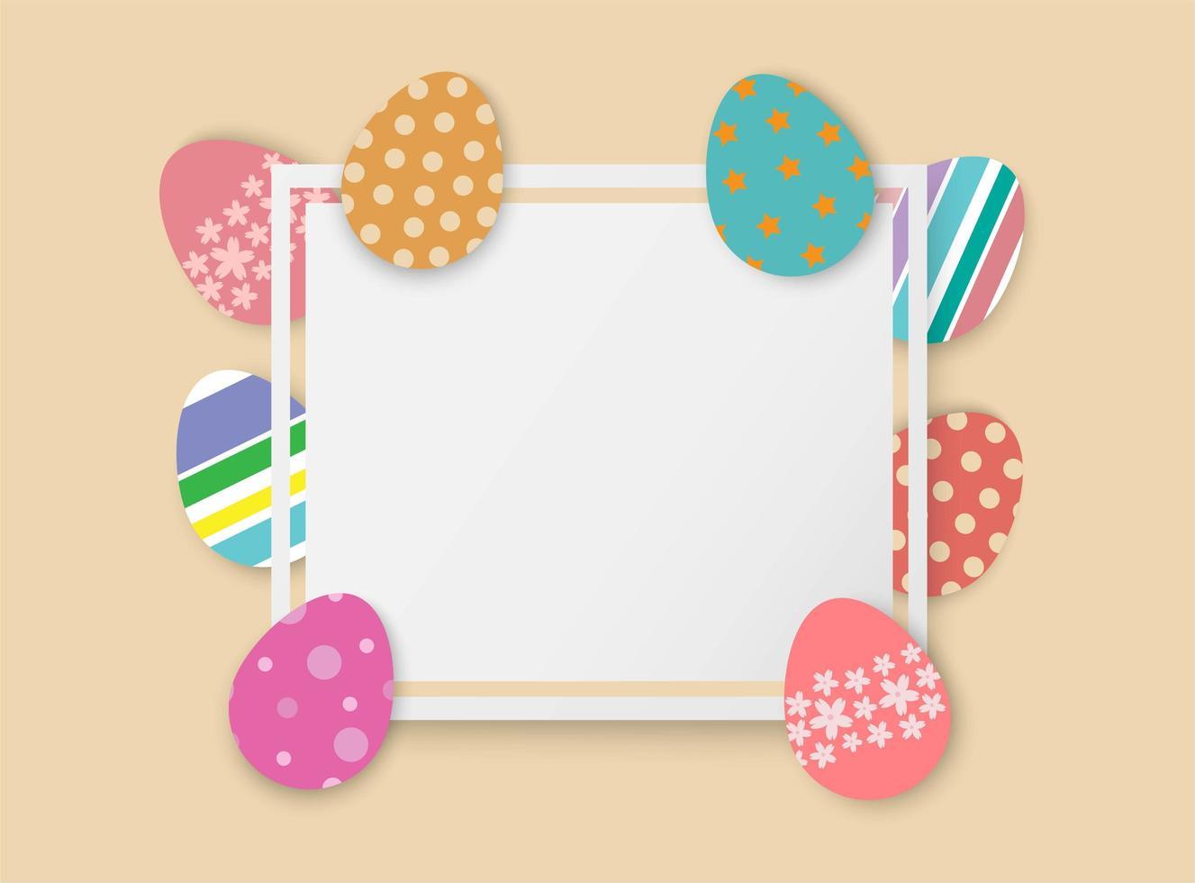 Uova di Pasqua In cornice quadrata vettore