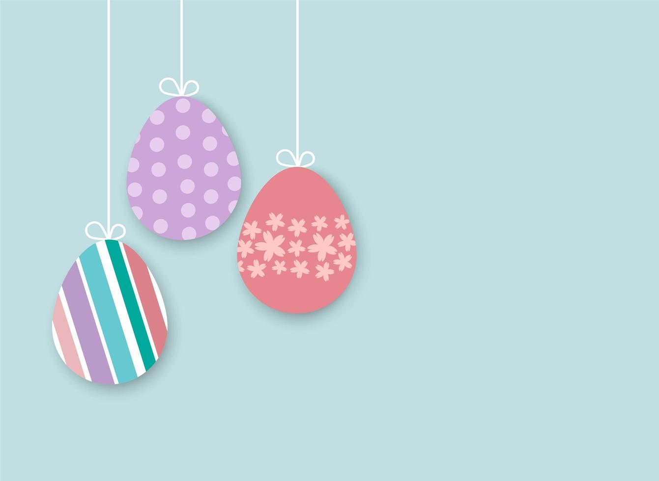 Uova di Pasqua Su sfondo blu vettore