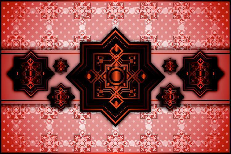 Sfondo rosso motivo ornamentale vettore