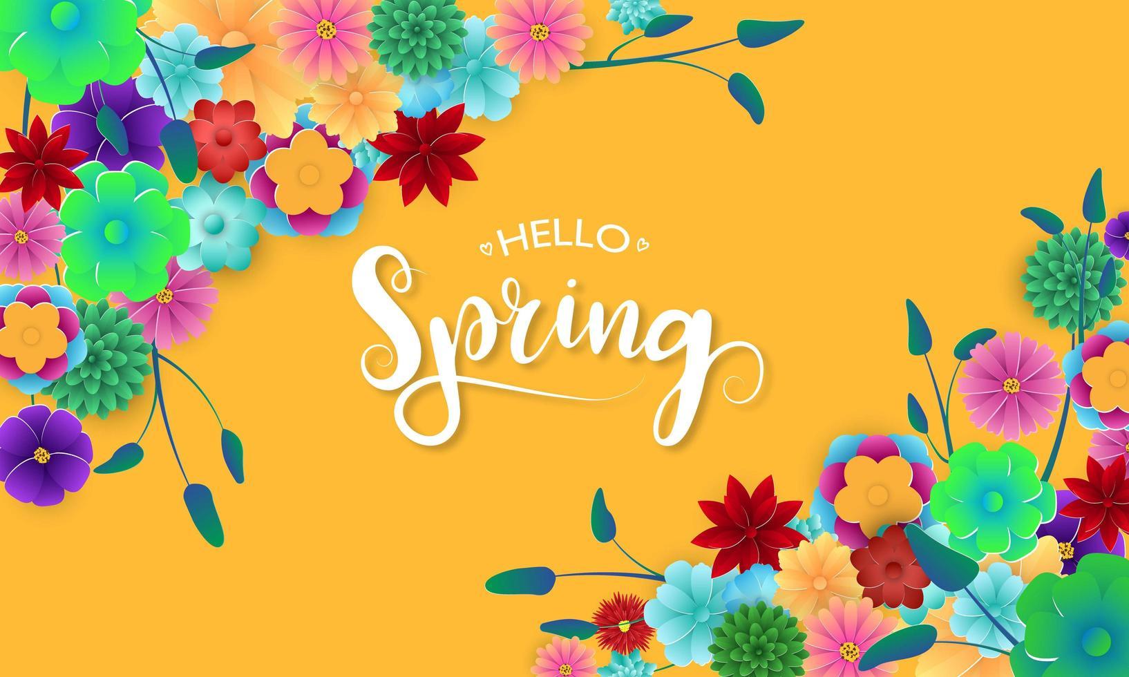 Banner di primavera con fiori colorati in angoli vettore