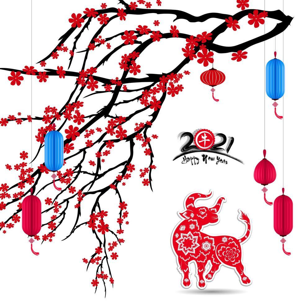 Capodanno cinese 2021 anno del bue con fiori di ciliegio e lanterna vettore