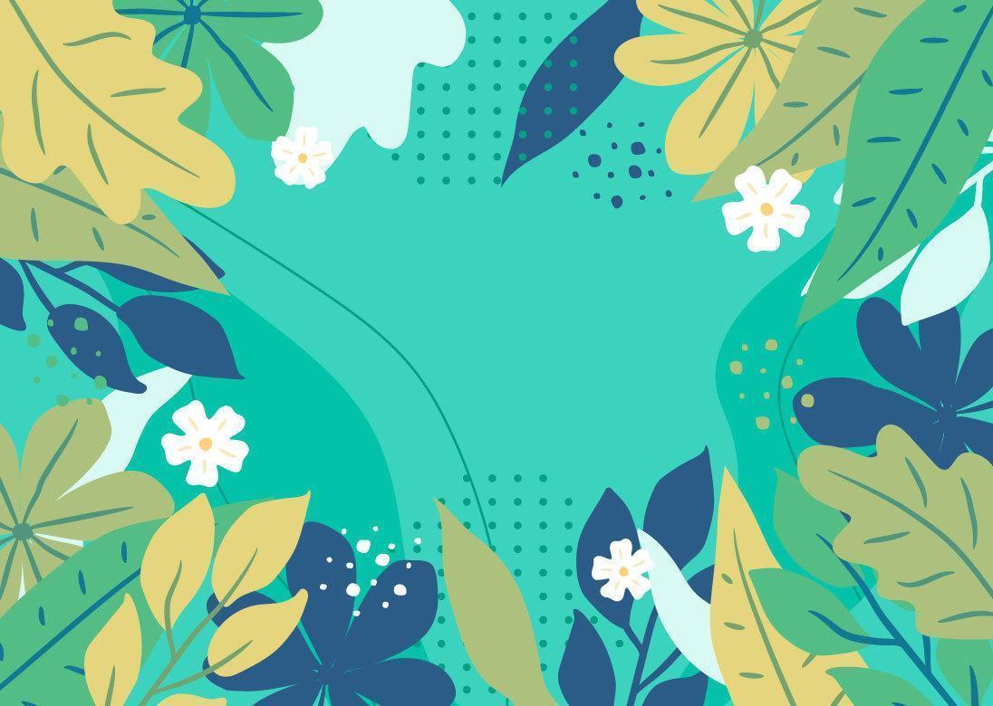 Sfondo floreale blu e verde disegnato a mano vettore