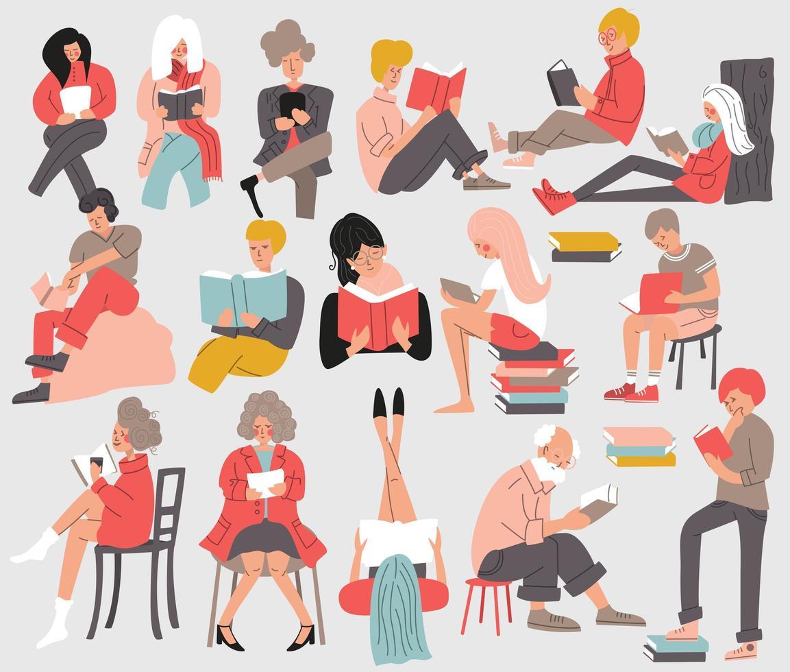 Gruppo di persone che leggono libri vettore