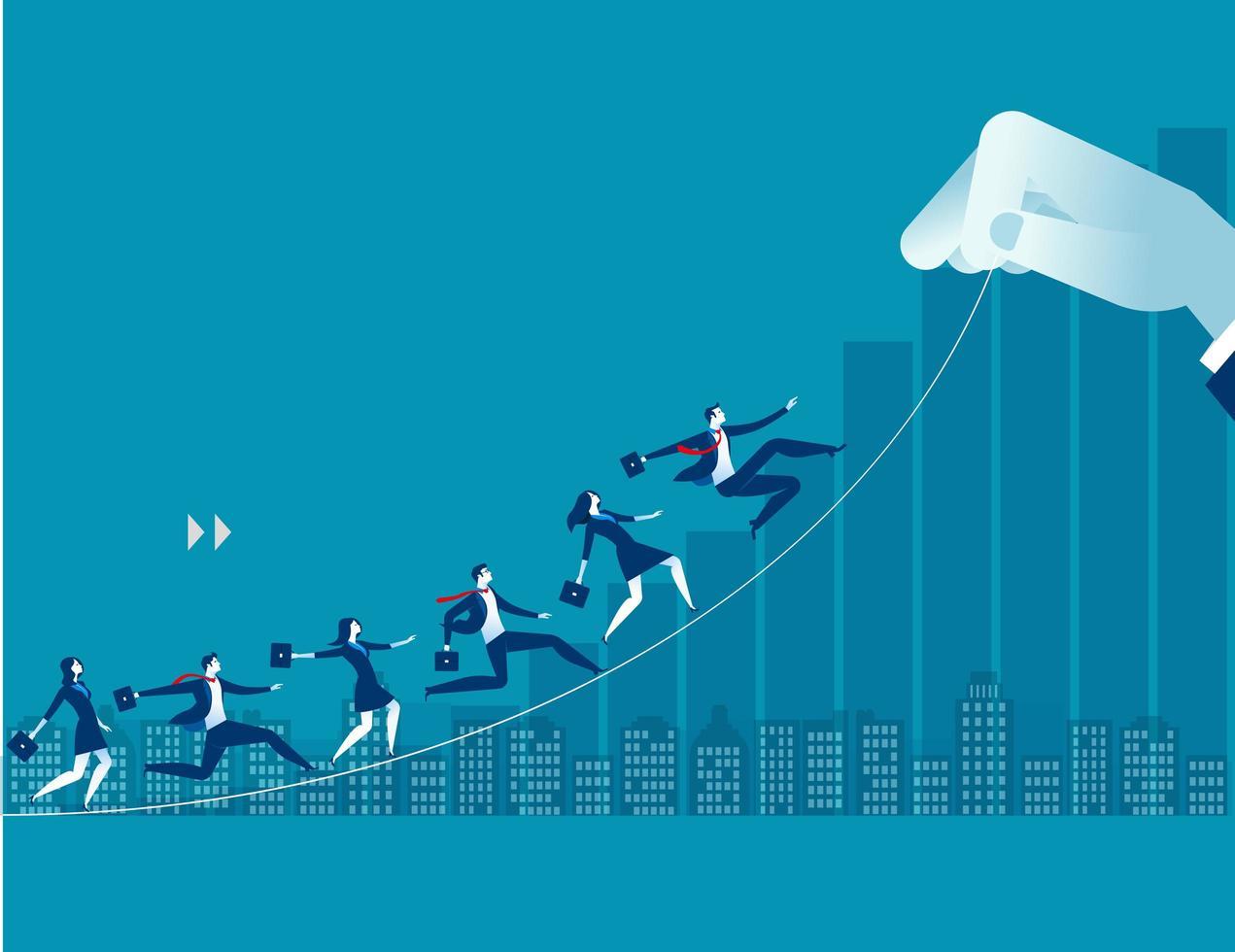 Persone di affari che corrono verso l'alto verso l'obiettivo vettore