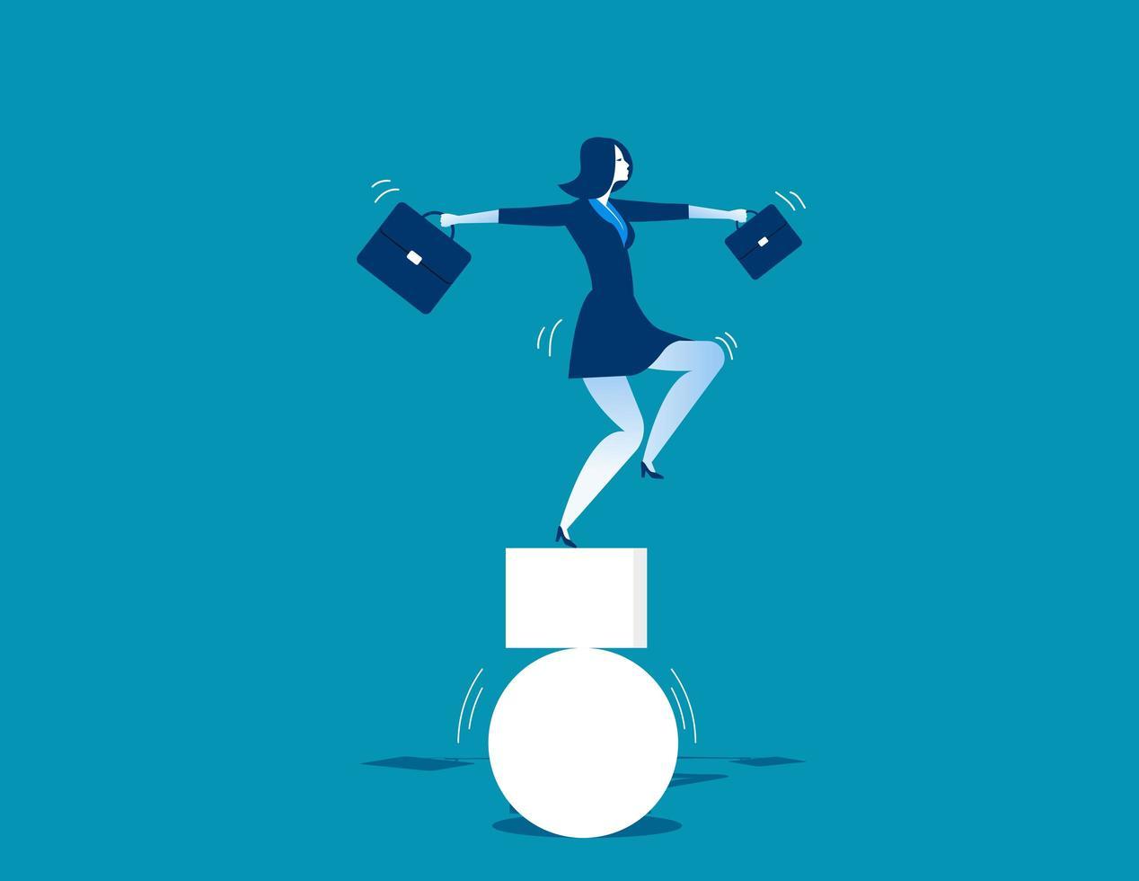 Donna di affari che equilibra sulle forme vettore