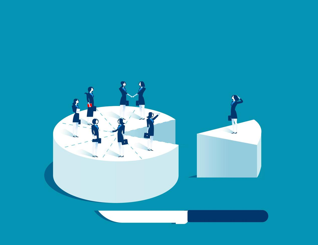 Donne di affari che stanno sul pezzo di torta vettore