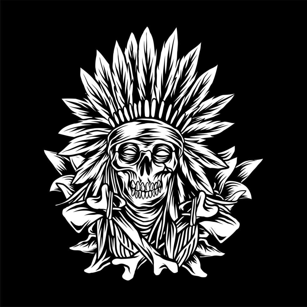 Ossa del cranio occidentale dei nativi americani vettore