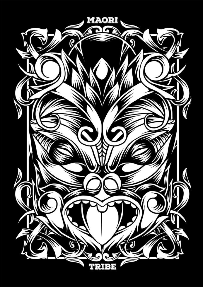 Illustrazione Maori Maschera Tatuaggio Tribale vettore