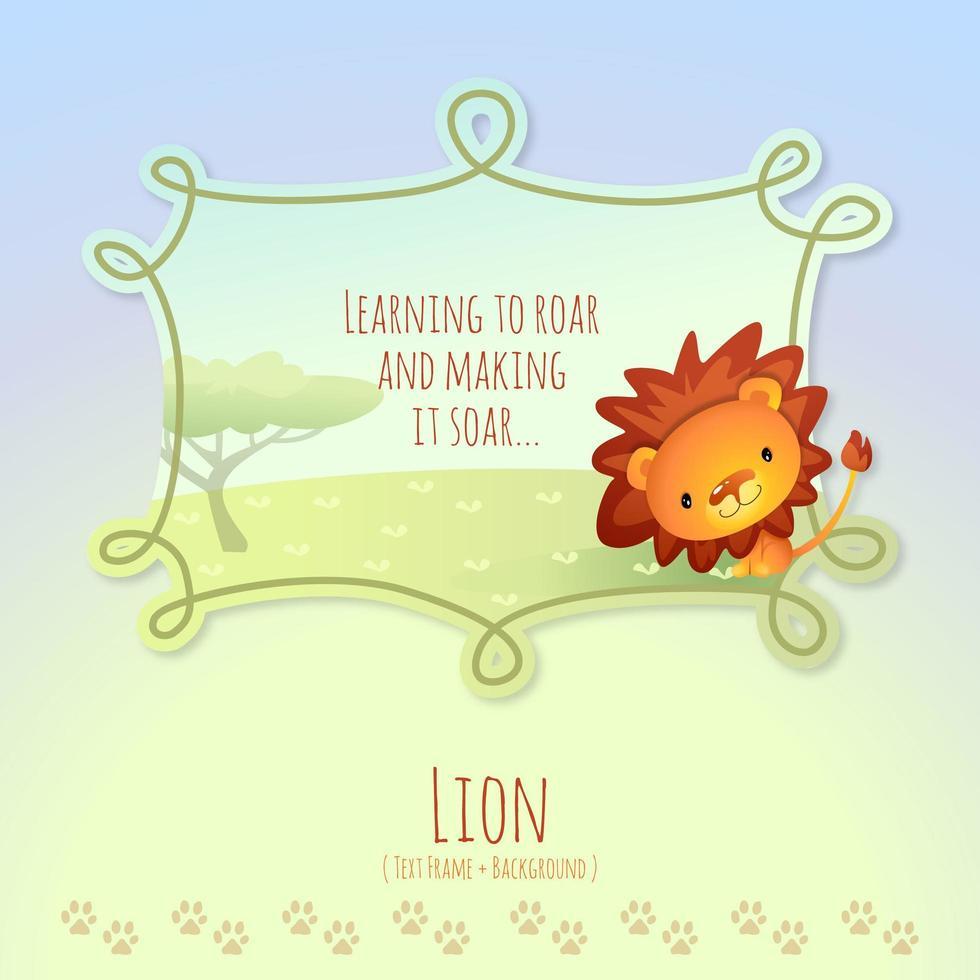 leone africano del fumetto con didascalia della cornice di testo vettore