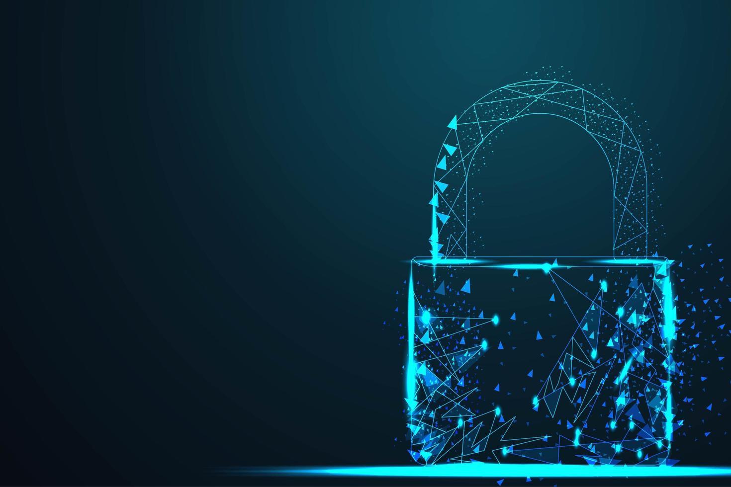 lucchetto di sicurezza wire low poly cyber lock vettore