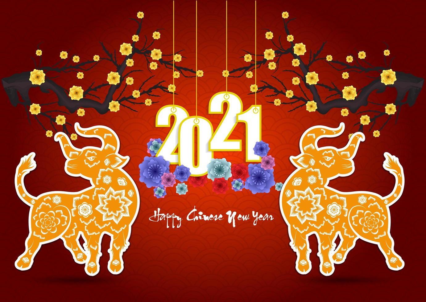 capodanno cinese 2021 poster con fiori e buoi vettore