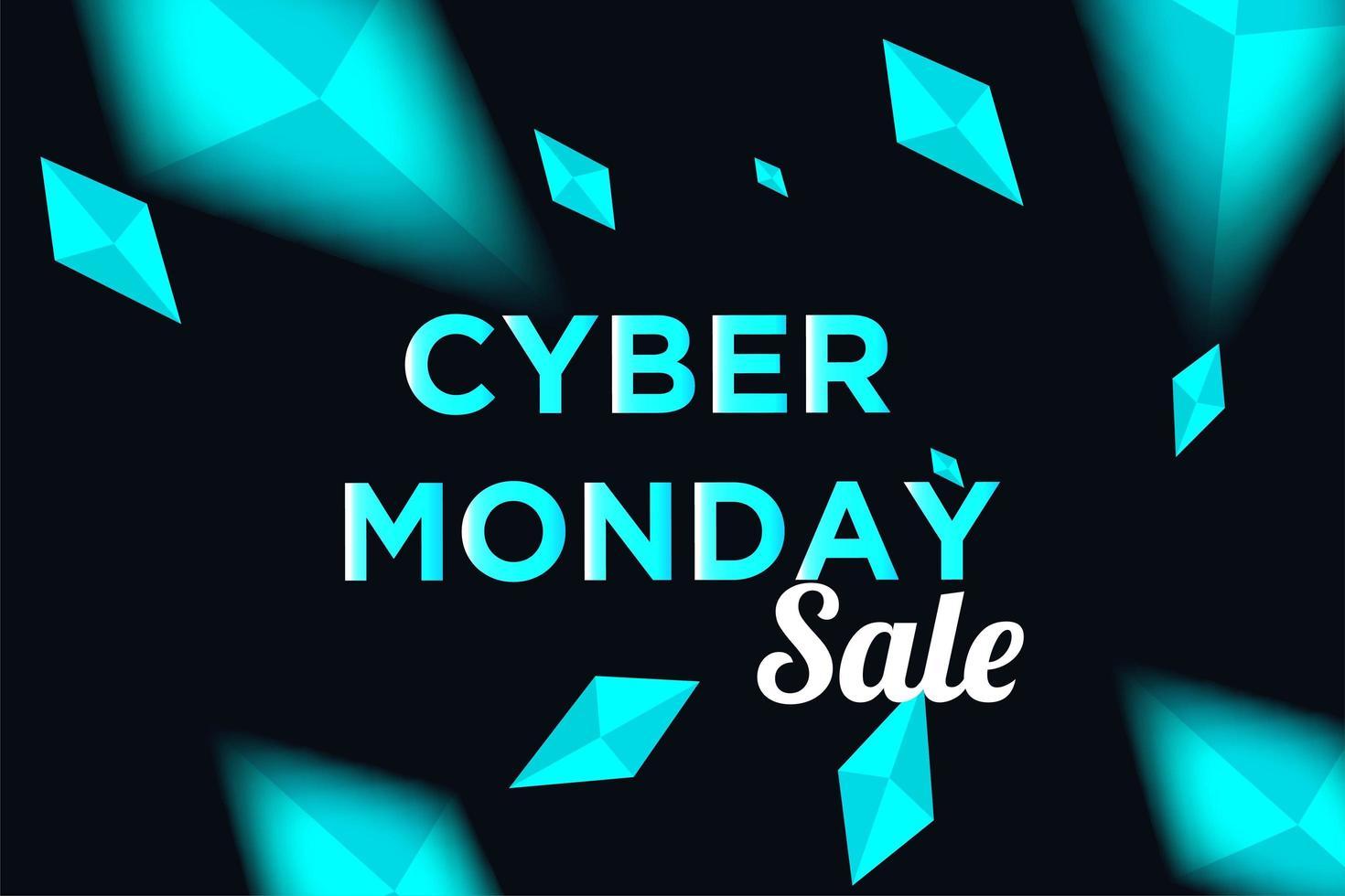 poster di vendita del cyber lunedì con diamanti luminosi vettore