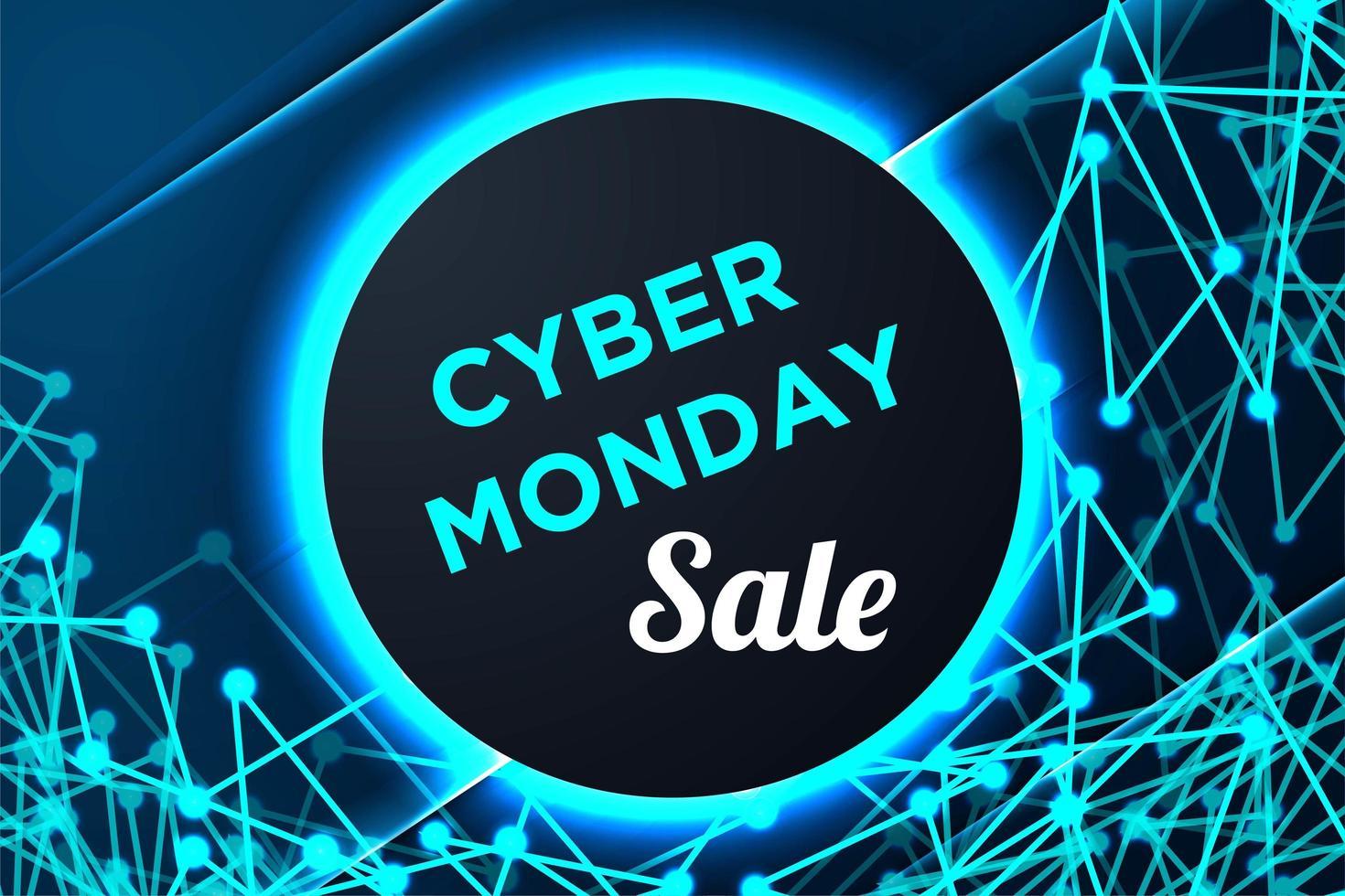 poster del cyber lunedì con cornice circolare e forme collegate vettore