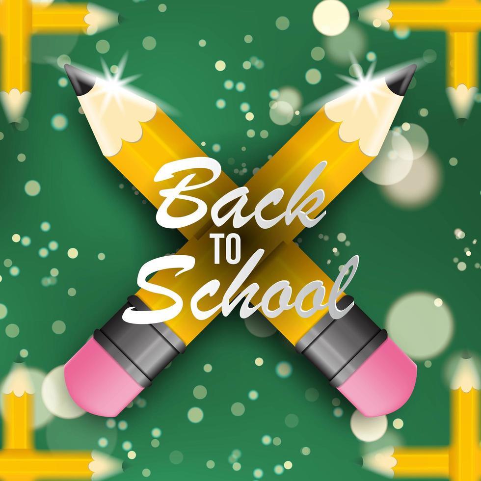 ritorno al design della scuola con matite e bokeh vettore