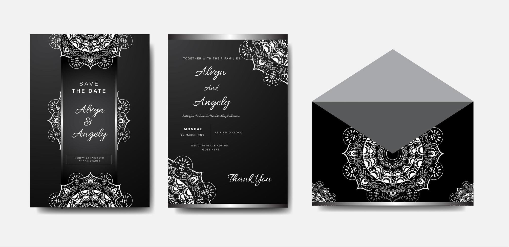 set di invito matrimonio mandala argento e bianco vettore