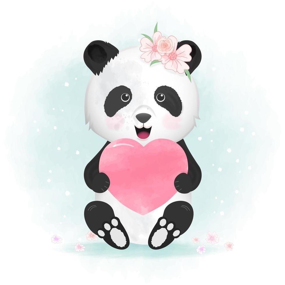 Panda che tiene l'illustrazione disegnata a mano del cuore vettore