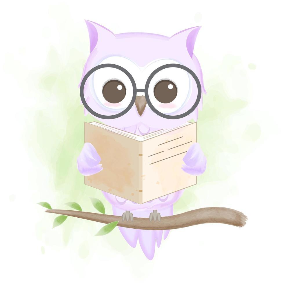 gufo che legge un'illustrazione disegnata a mano del libro vettore
