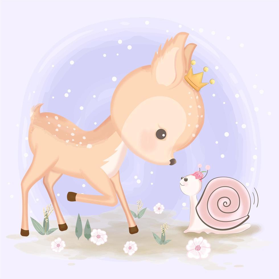 illustrazione disegnata a mano del bambino cervi e lumaca vettore