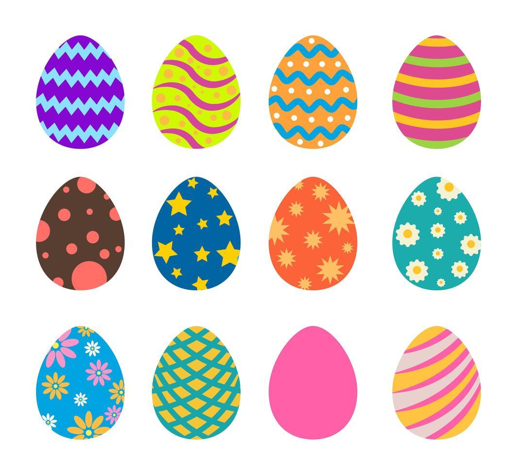 raccolta di uova di Pasqua colorate fantasia vettore