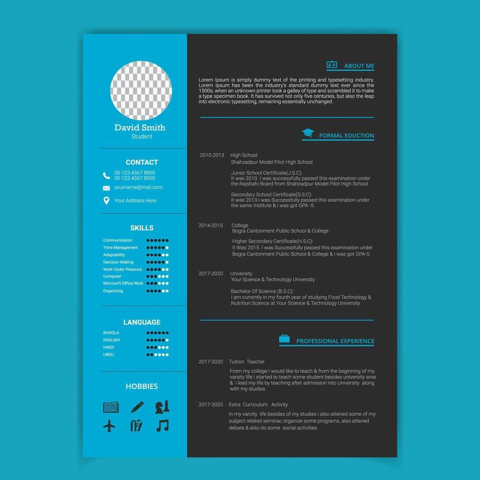 modello di curriculum minimo blu e grigio vettore